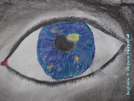 """Давненько я ничего не выкладывала!Пора исправляться. Мои рисунки за последнее время: """"Живая вселенная""""фломастеры, и масляная пастель. А4.  фото 2"""