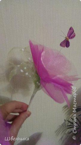 Три медведя-три букетика).Нашлись у свекрови мишки  на шпажках,бабочки,цветочки разные и органза цветочная.Это наш совместный проект.С меня композиция,упаковывать в флористические обёртки помогла  и делилась секретиками свекровь.Букетики отправляться в её магазинчик. фото 7
