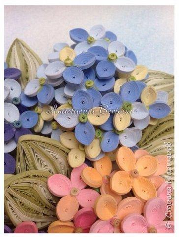 Всем доброго времени! Сегодня у меня гортензия. Много маленьких разноцветных цветочков, собраны в маленький яркий букетик. Для цветочков использовала полосочки 1,5 мм 14-ти оттенков. Для листьев: полосочки 3 мм 3-х оттенков.  Формат 23*23 см, фон - сухая пастель. фото 4