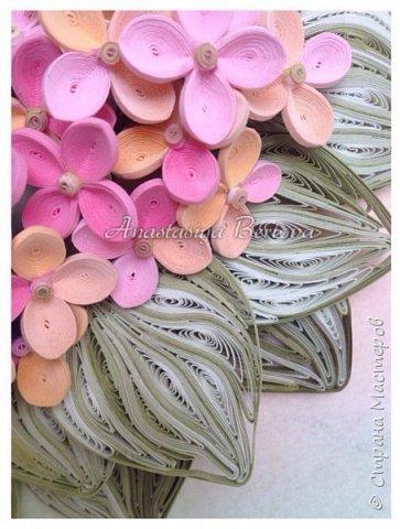 Всем доброго времени! Сегодня у меня гортензия. Много маленьких разноцветных цветочков, собраны в маленький яркий букетик. Для цветочков использовала полосочки 1,5 мм 14-ти оттенков. Для листьев: полосочки 3 мм 3-х оттенков.  Формат 23*23 см, фон - сухая пастель. фото 5