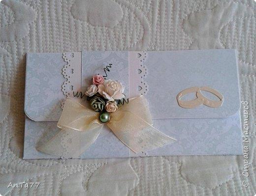 Заказали мне конвертик на свадьбу. И так меня увлекла эта тема, что получилась целая серия конвертов. Заказчица выбрала этот. фото 1