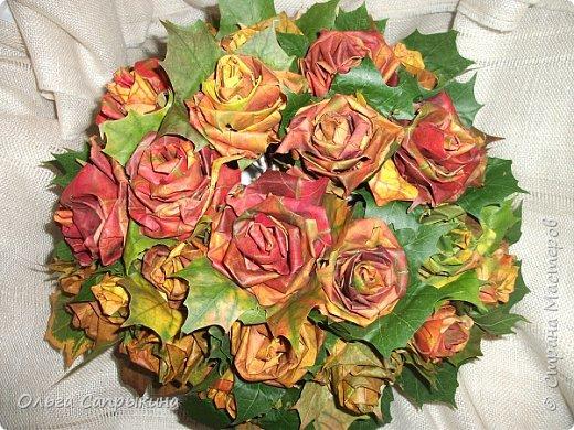 Давно слышала что делают розы из кленовых листьев,вот захотела сама попробовать,начала искать МК в инете. то что нашла не очень меня устроило,поэтому долго крутила-вертела сама....и вот что навертела.В стране Мастеров уже есть МК роз из кленовых листочков,но розы там получаются совершенно другие.Может кому нибудь пригодятся мои наработки. именно такого вида розы(пышные) получаются из листьев мелкого и среднего размера. Из очень крупных листочков почему то не получается именно такой вид. фото 1