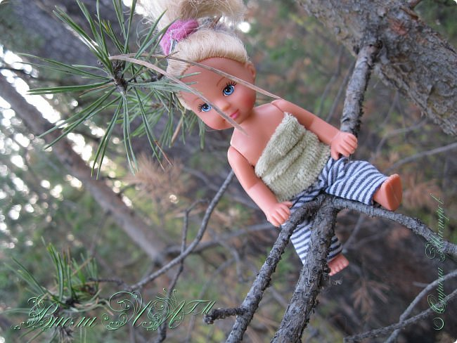 Добрый вечер!(а у кого - то день :D )Сегодня был довольно хороший денек, и мы ездили в осенний лес!Как же там красиво))))Я взяла с собой Марту, как раз сшились штанцы и топ! Шишечку нашла :) их там очееньь много :) фото 5