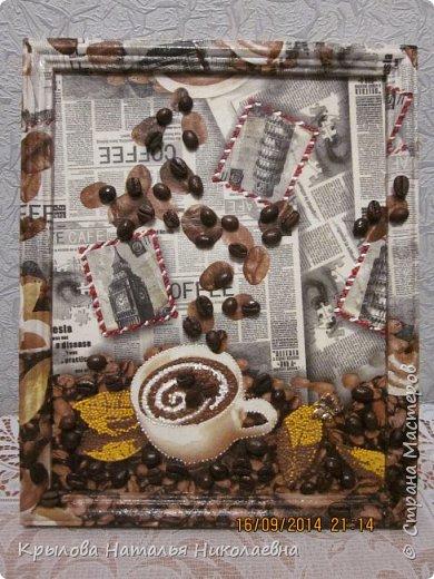 """Милые мои рукодельньницы """"Страны Мастеров""""!Хочу порадовать Вас своими """"кофейными работами"""".Топиарий давно мечтала сделать кофейным.Думала-думала и наконец-то надумала.А панно как раз к нему и сделала. фото 2"""