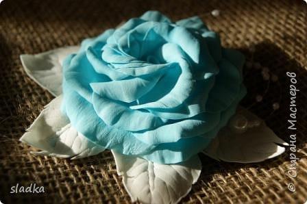 Доброго всем сентябрьского дня. Я к вам с новыми работами. Уже пол года работаю с ревелюром фомом. и могу сказать, из любого фома можно сделать цветы. и они будут не повторимы как и настоящие цветы. Я заказывала фурнитуры и заодно до веса взяла лист А4 фом. Девочка администратор меня уверила что это иранский фом,видимо по толщине 0,5мм,но на этикетки был производитель Китай. он был настолько тонкий,что я не представляла как с ним работать,как я привыкла работать. И вот что получилось. Судите сами. Роза очень воздушная и не весомая,на свету просвечивается.  Результат меня вдохнавил. фото 1