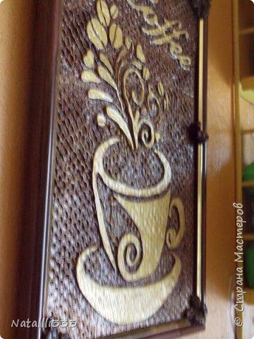 Понравилось мне работать со шпаклевкой))) вот и родилось еще одно панно на кофейную тему. фото 4