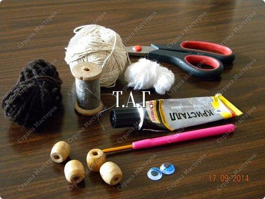 Мастер-класс Поделка изделие Новый год Вязание Вязание крючком Облачко на ножках бегает по дорожке Бусины Клей Нитки Пряжа фото 4