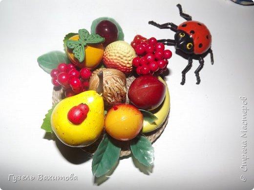 """Магниты сделаны из фруктов-муляжей, а маленькие магнитики  лепили  с дочкой лет 5 назад, из застывающей массы """"оранжевый слон"""" и подарили бабушкам и тетям фото 2"""