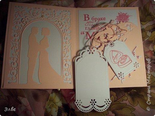 """Этим летом сделала несколько свадебных открыток. Началось с того, что сестру пригласили на свадьбу к знакомой, а она на работе показала мою открытку коллегам.  Так я впервые получила заказ. Но все хотели """"такую же"""". Я, конечно, кое-что меняла, но всё же они очень похожи. фото 14"""