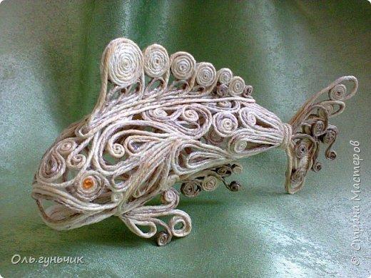 Мастер-класс Поделка изделие Моделирование конструирование Филигранная рыбка Клей Шпагат фото 1
