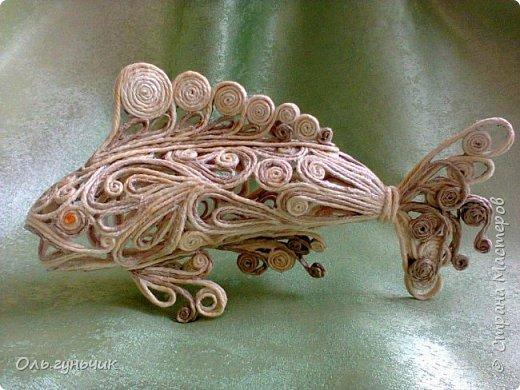 Мастер-класс Поделка изделие Моделирование конструирование Филигранная рыбка Клей Шпагат фото 23