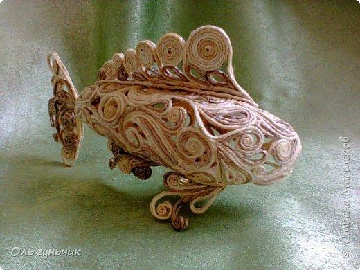 Мастер-класс Поделка изделие Моделирование конструирование Филигранная рыбка Клей Шпагат фото 26