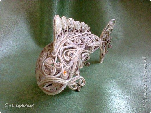 Мастер-класс Поделка изделие Моделирование конструирование Филигранная рыбка Клей Шпагат фото 27