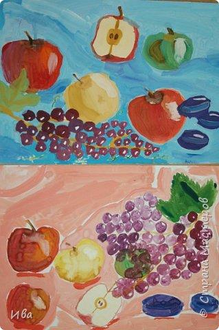 Комбинированное задание аппликация и добавленный рисунок фруктов. фото 3