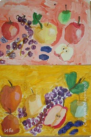 Комбинированное задание аппликация и добавленный рисунок фруктов. фото 4