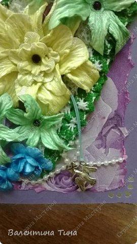 Здравствуйте соседи СМ! Встречайте моё очередное произведение. Открыточка для старшенькой племянницы. Фон с розами я делала из салфетки. фото 2