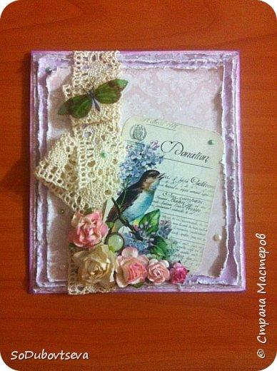 моя первая открытка в стиле шебби шик))очень жду ваших коментариев фото 1