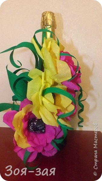 Этими бутылочками с горячительными напитками мы поздравляли наших музчин с 23 февраля.)))Внутри цветочка-конфетка(закусь))))) фото 1