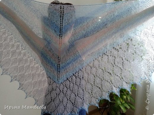"""Это шаль с каймой  дизайна Т. Гобрусевой  """" Июльский дождь"""". фото 1"""