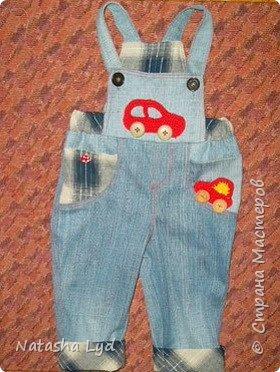 Вопрос - Что можно сделать имея старые джинсы, рубашку, маленького мальчика и немного фантазии? Ответ - комбинезон для маленького мальчика. фото 18