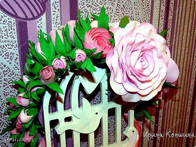 Венок на голову. Цветы из фоамирана.  фото 7