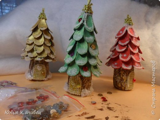 Мастер-класс Новый год Моделирование конструирование Новогодние ёлочки-домики фото 19