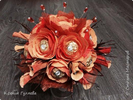 Осенняя корзинка с попыткой сделать розы, по всем мастер классам, которые смогла найти))  итог: розы на розы не похожи, но и ни на один цветочек из всех мастер классов тоже не похоже)))  ну уж что получилось то получилось фото 5