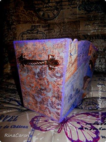 Журнальница или короб для рукоделия Большой вместительный короб. Для спиц, ниток для вязания или под журналы мод. Украшен медальоном фото 9