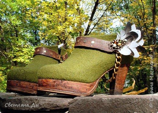 Ботильоны Таисия. Комбинированная обувь ручной работы из войлока и кожи.