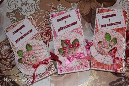 Для Дня воспитателя сделала для двух воспитателей и для младшего воспитателя шоколадницы... фото 1