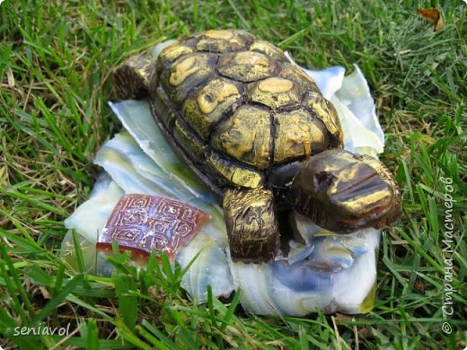 Поступил заказ, для одной Итальянской синьоры увлекающейся разного рода черепашками, куклами и тарелками. Сама особа почтенного возраста и довольно творческий человек судя по описаниям моего клиента.  Поэтому было решено создать мыльный подарок в виде черепахи. фото 4