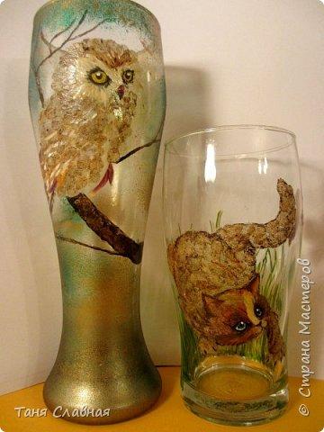 Декор предметов Мастер-класс Аппликация Рисование и живопись Рисунок лепестками цветов аппликация на стекле Клей Краска Листья Материал природный фото 1