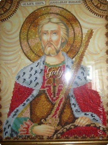 """Этим летом у моего папы был юбилей и я вышила для него икону его святого покровителя """"Святого благоверного князя Александра Невского"""". фото 2"""