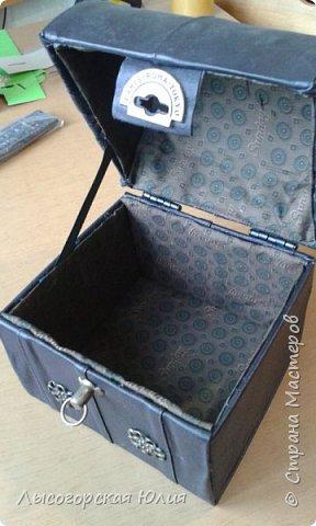 Мастер-класс Поделка изделие Моделирование конструирование Сундучок кожаный Картон Кожа фото 7