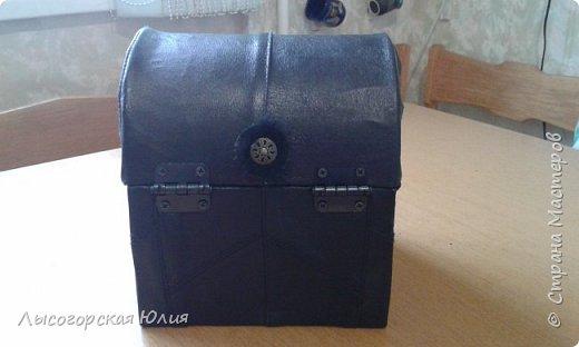 Мастер-класс Поделка изделие Моделирование конструирование Сундучок кожаный Картон Кожа фото 5
