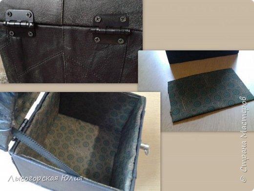 Мастер-класс Поделка изделие Моделирование конструирование Сундучок кожаный Картон Кожа фото 4