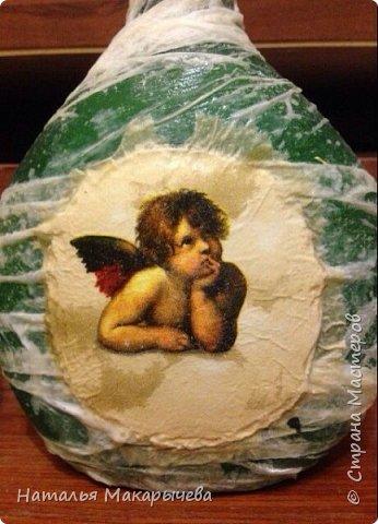 Декор предметов Мастер-класс Декупаж Лепка Бутылочка Ангел на счастье винтаж Бумага Клей Краска Крупа фото 7