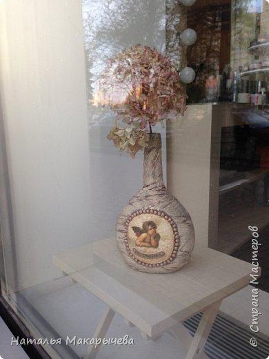 Декор предметов Мастер-класс Декупаж Лепка Бутылочка Ангел на счастье винтаж Бумага Клей Краска Крупа фото 12