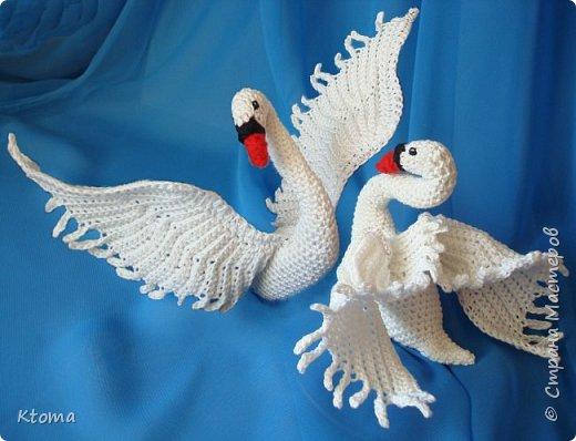 Игрушка Свадьба Вязание крючком Лебедь Пряжа