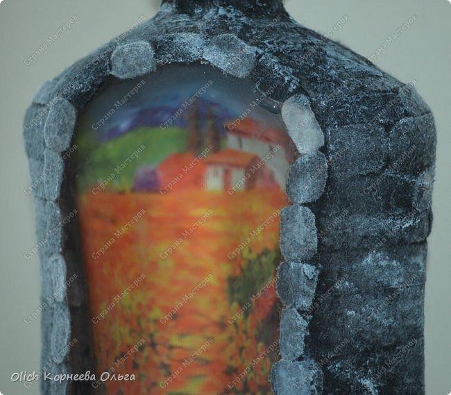 Декор предметов Мастер-класс Аппликация Декупаж Имитация камня фетром Бутылки стеклянные Клей Краска Салфетки Фетр фото 2