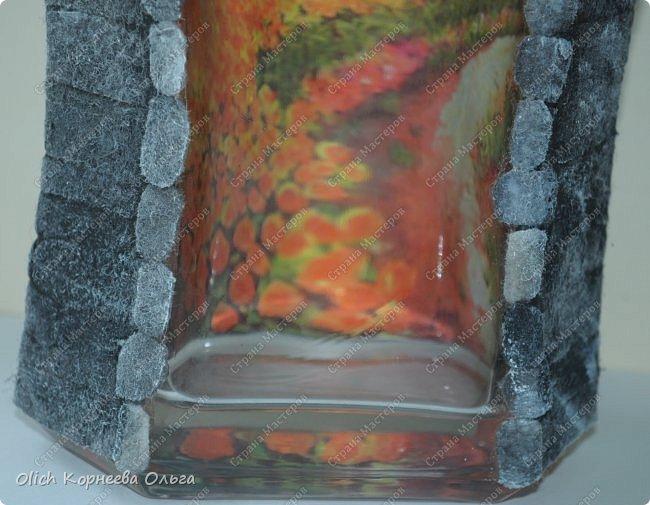 Декор предметов Мастер-класс Аппликация Декупаж Имитация камня фетром Бутылки стеклянные Клей Краска Салфетки Фетр фото 4