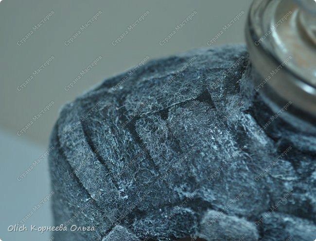 Декор предметов Мастер-класс Аппликация Декупаж Имитация камня фетром Бутылки стеклянные Клей Краска Салфетки Фетр фото 5