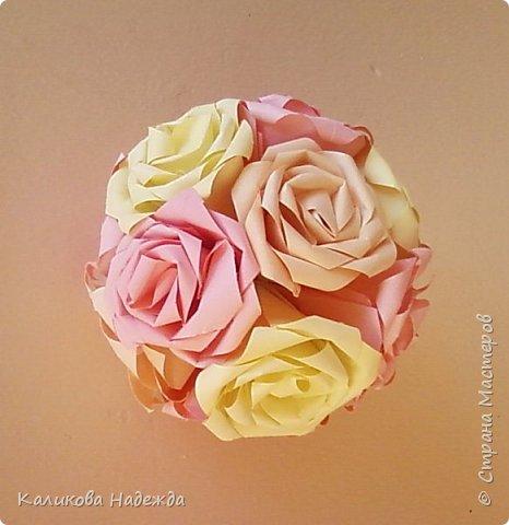 Мастер-класс Поделка изделие Оригами Роза из 15 квадратов Бумага фото 22