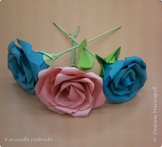 Мастер-класс Поделка изделие Оригами Роза из 15 квадратов Бумага фото 19