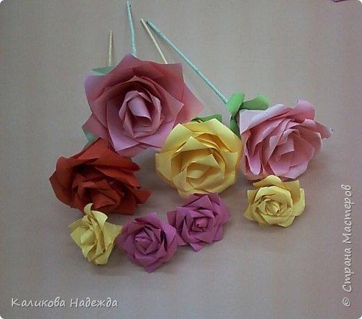 Мастер-класс Поделка изделие Оригами Роза из 15 квадратов Бумага фото 1