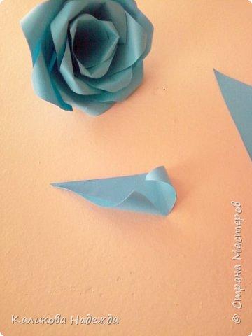 Мастер-класс Поделка изделие Оригами Роза из 15 квадратов Бумага фото 17