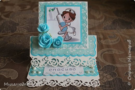 Всем мастерам ЗДРАВСТВУЙТЕ! Выкладываю на ваш суд открытки сделанные на Всемирный день медицинской сестры (12 мая) и на День медицинского работника. фото 8