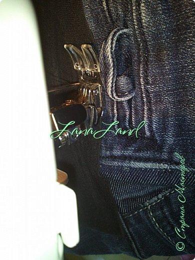 """здравствуйте,мои дорогие ,делюсь с вами как можно увеличить размер любимых джинс, уверена у каждой есть любимые,идеально сидящие штанцы,которые в поясе становятся маловаты))))животик растет,купила я себе брючки для беременных и спортивные штанишки,но джинсы,как ни крути вещь универсальная и подходит подо всё,искала я по магазинам беременные джинсики,но качество было просто ужас,а расцветка вообще кошмар,да и поддержки для живота в магазинных моделях совершенно нет,поэтому хочешь сделать хорошо,сделай сам)))решила из любимых сотворить""""чудо""""))) джинсики для пузика своими ручками из старых джинс и футболки, работа заняла 1,5 часа   фото не переворачивается ((( фото 15"""