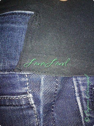 """здравствуйте,мои дорогие ,делюсь с вами как можно увеличить размер любимых джинс, уверена у каждой есть любимые,идеально сидящие штанцы,которые в поясе становятся маловаты))))животик растет,купила я себе брючки для беременных и спортивные штанишки,но джинсы,как ни крути вещь универсальная и подходит подо всё,искала я по магазинам беременные джинсики,но качество было просто ужас,а расцветка вообще кошмар,да и поддержки для живота в магазинных моделях совершенно нет,поэтому хочешь сделать хорошо,сделай сам)))решила из любимых сотворить""""чудо""""))) джинсики для пузика своими ручками из старых джинс и футболки, работа заняла 1,5 часа   фото не переворачивается ((( фото 18"""