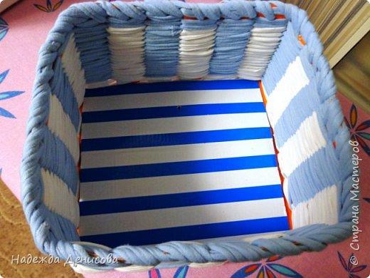 Мастер-класс Поделка изделие Плетение Корзинка из маек Картон Ткань фото 9